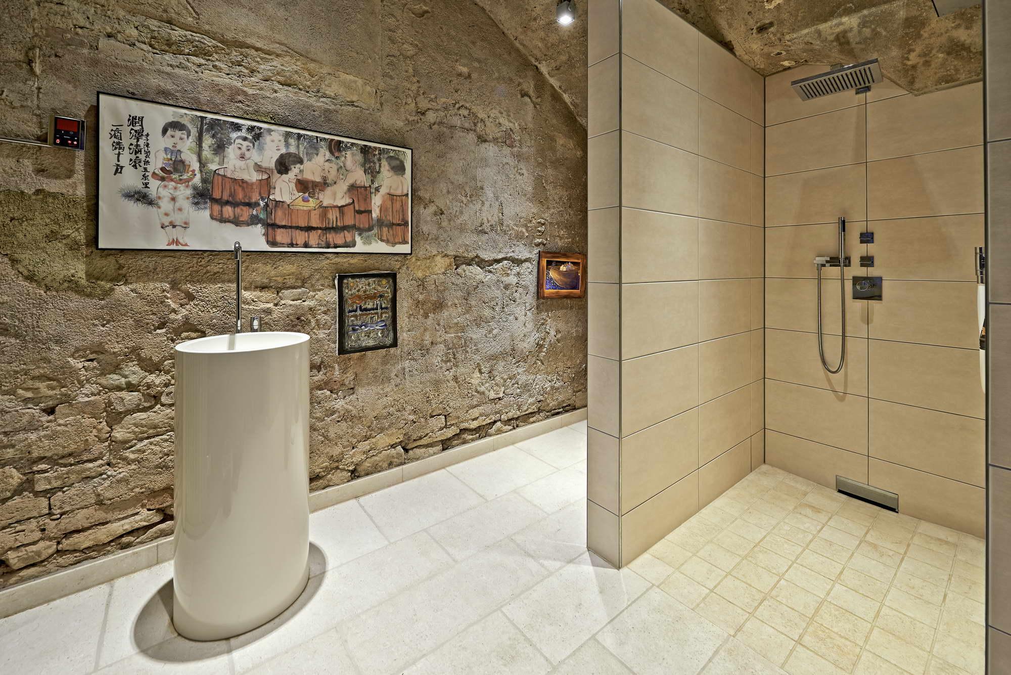 Mosaik Badezimmer . Freistehendes Waschbecken U0026 Dusche ...
